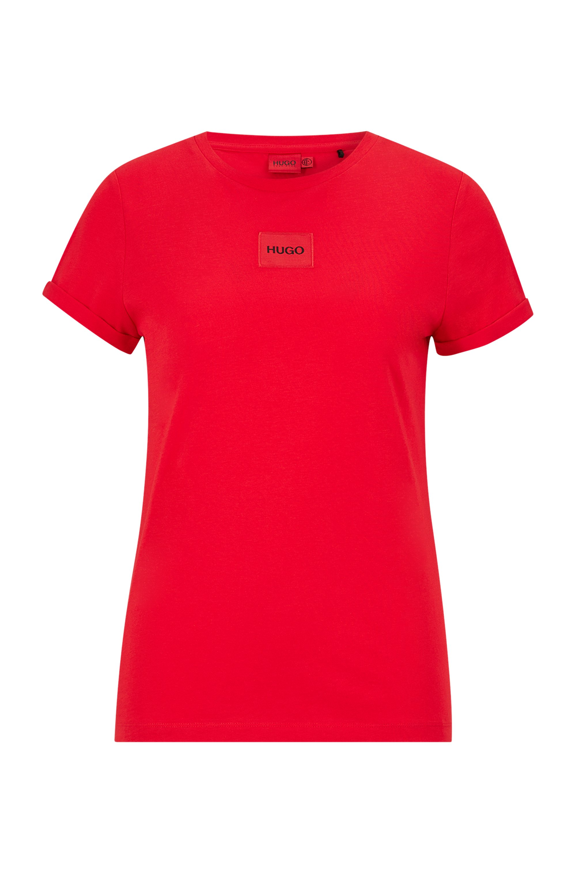 Slim-fit cotton T-shirt with red logo label, Red