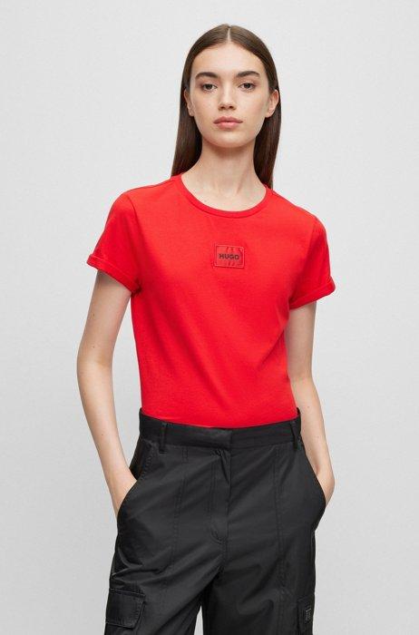 Slim-Fit T-Shirt aus Baumwolle mit rotem Logo-Etikett, Rot