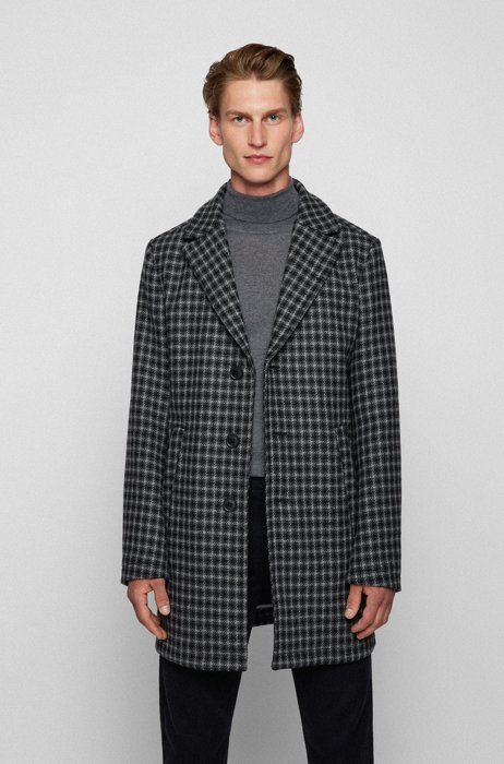 Houndstooth coat in an Italian wool blend, Black Patterned