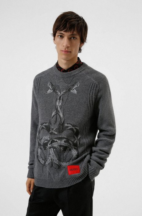 Knitted sweater with snake print and logo label, Grey