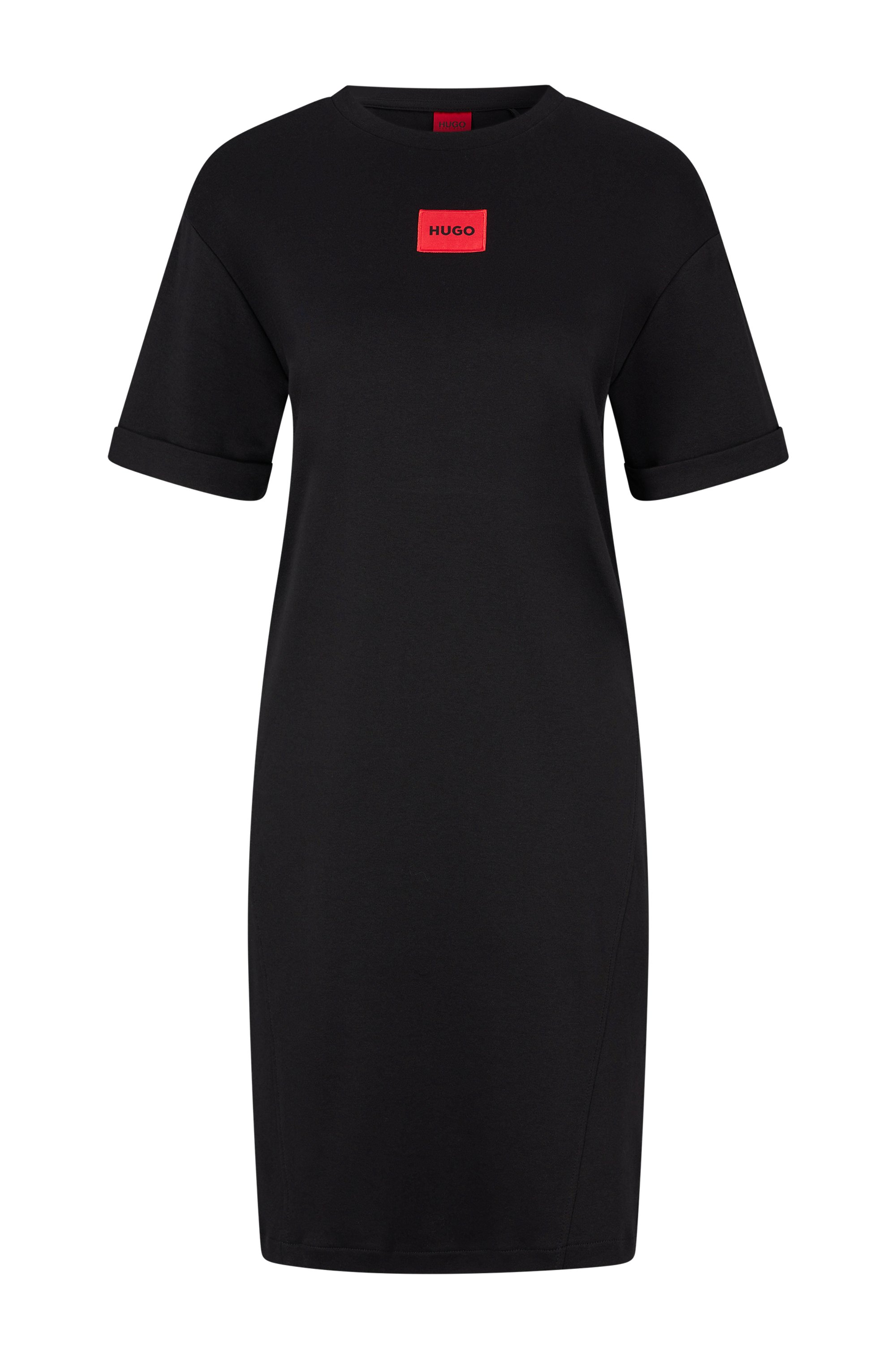 Robe t-shirt en coton interlock avec étiquette logo rouge, Noir