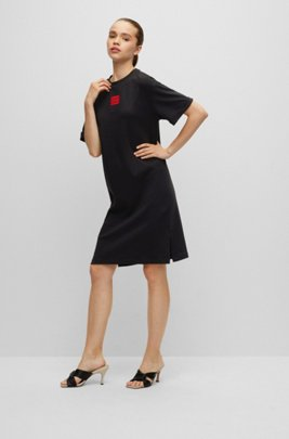 Interlock-cotton T-shirt dress with red logo label, Black