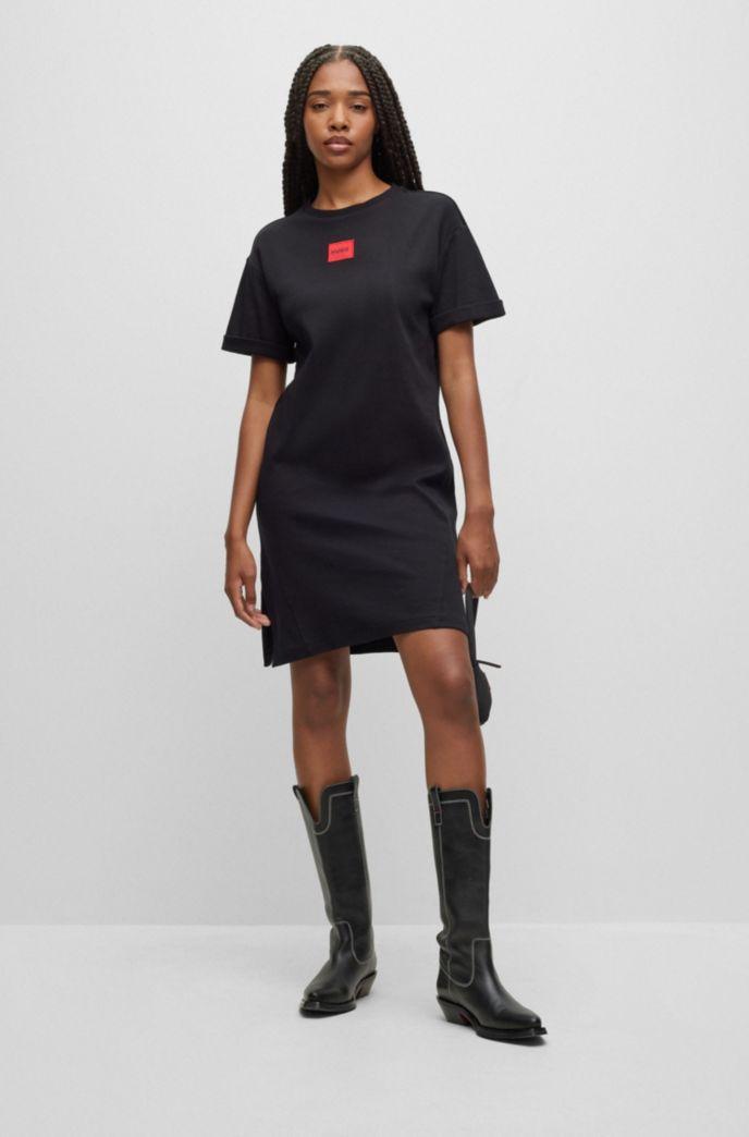 Interlock-cotton T-shirt dress with red logo label