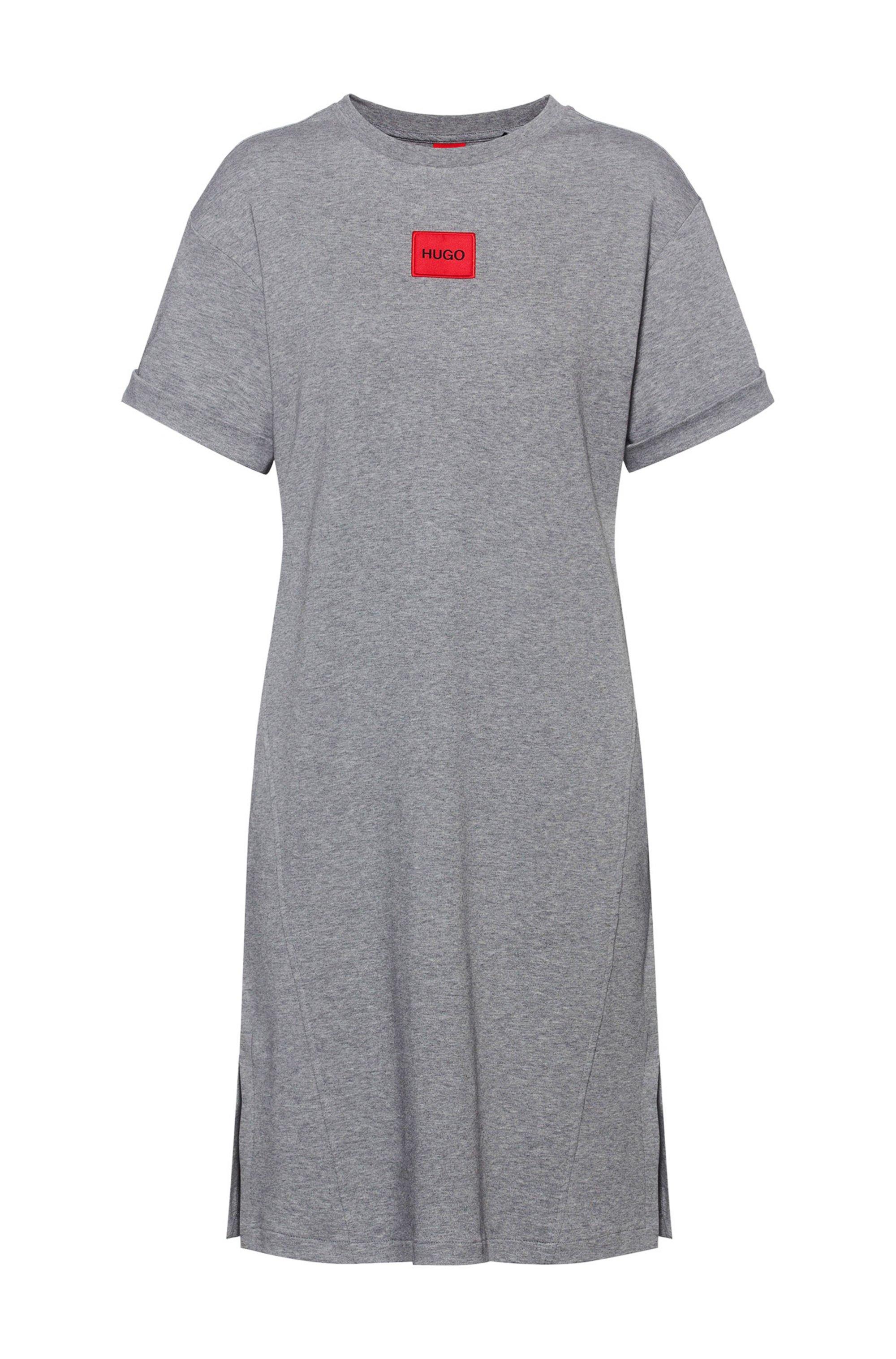 Robe t-shirt en coton interlock avec étiquette logo rouge, Gris
