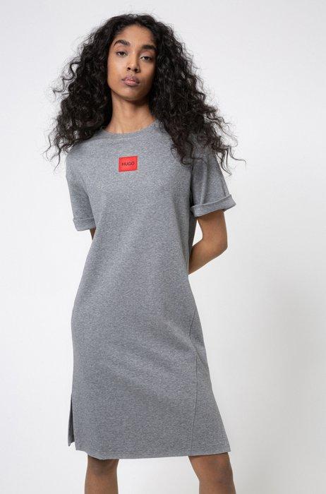 Interlock-cotton T-shirt dress with red logo label, Grey