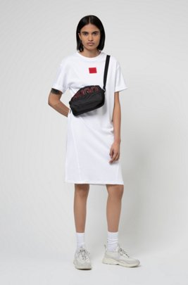 Interlock-cotton T-shirt dress with red logo label, White