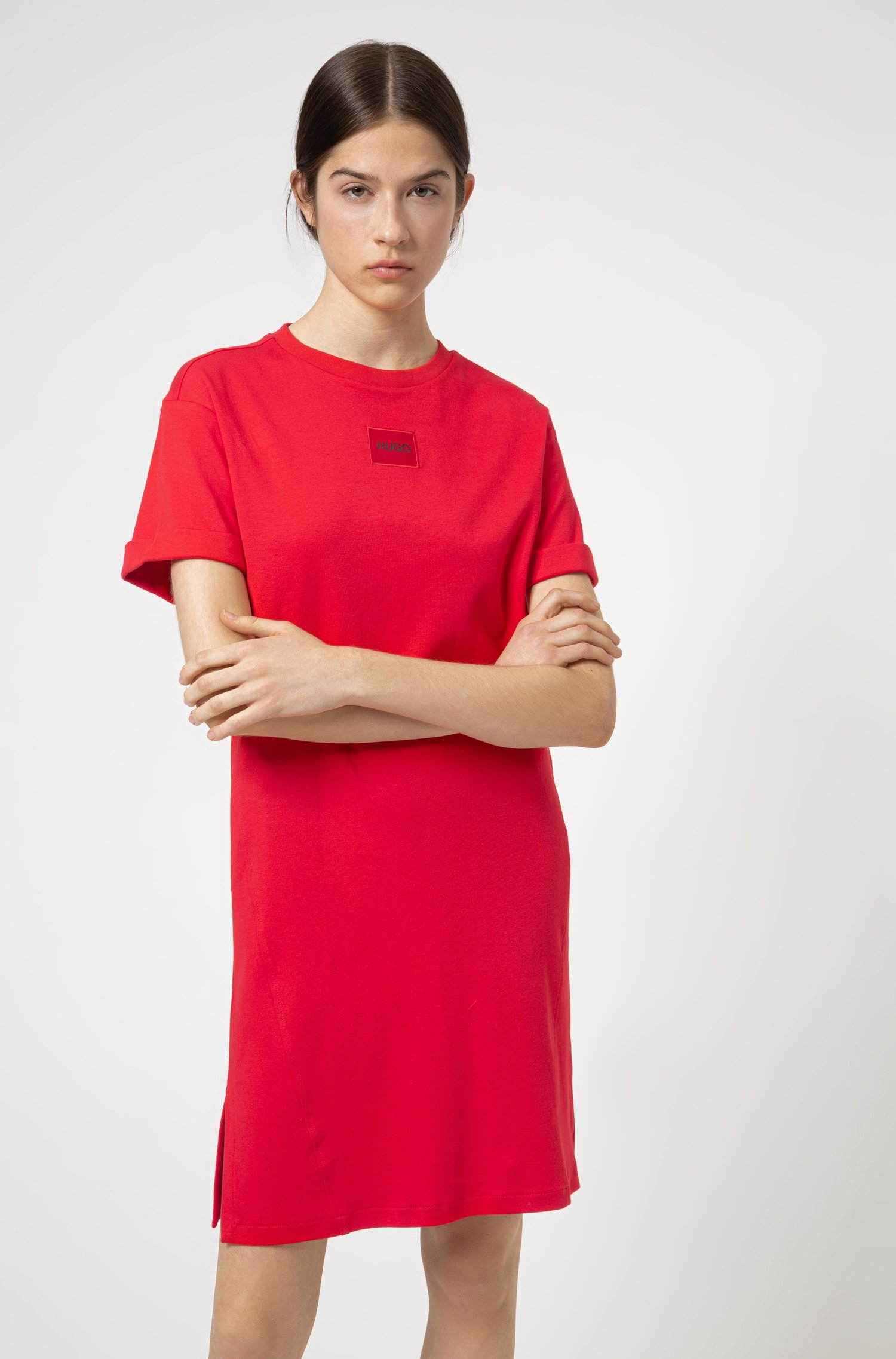 Robe t-shirt en coton interlock avec étiquette logo rouge, Rouge