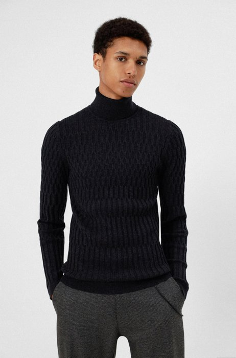 Extra-slim-fit turtleneck sweater with all-over structure, Dark Grey