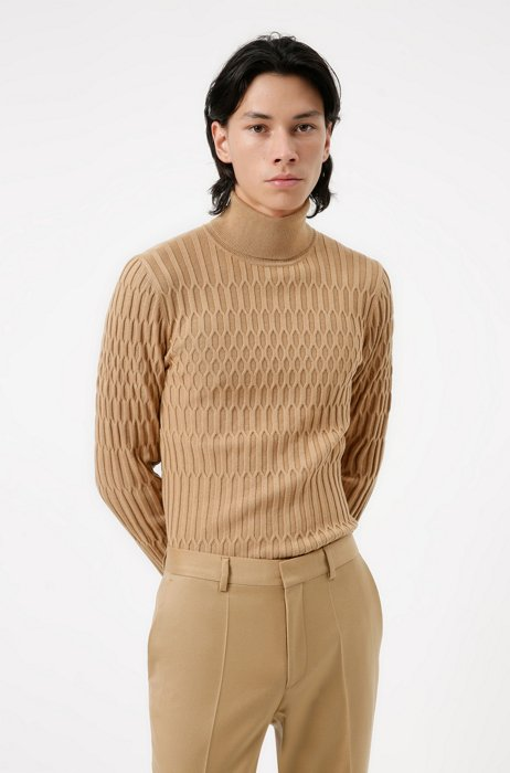 Extra-slim-fit turtleneck sweater with all-over structure, Beige