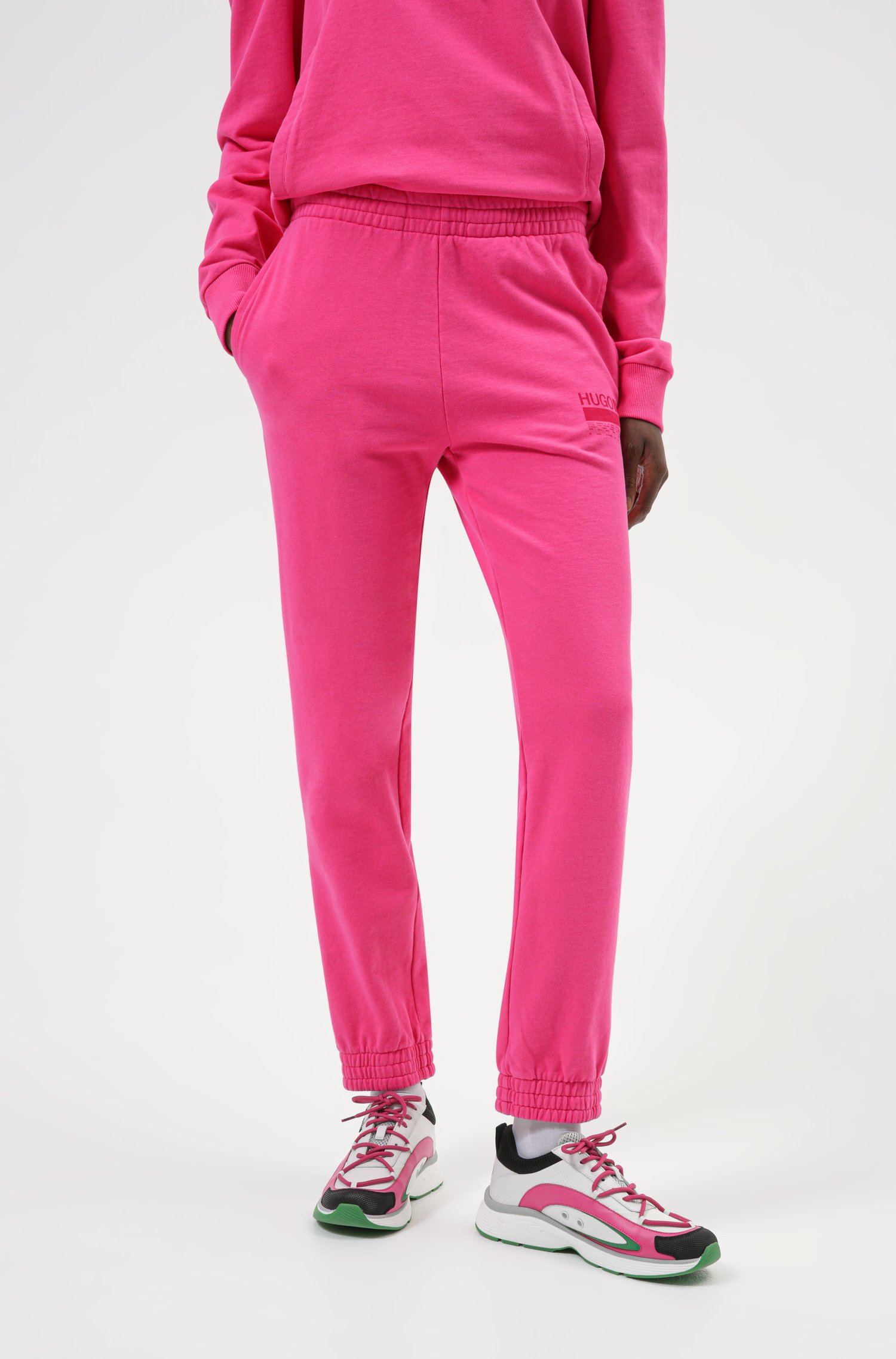 Relaxed-fit tracksuit bottoms in Recot2® French terry cotton, Pink