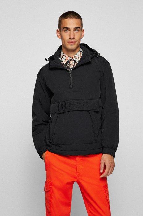 Relaxed-fit gewatteerde jas met buidelzak en logo, Zwart