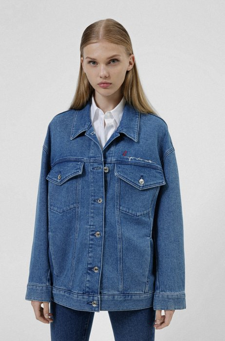 Oversized-fit denim jacket with scribble print, Blue
