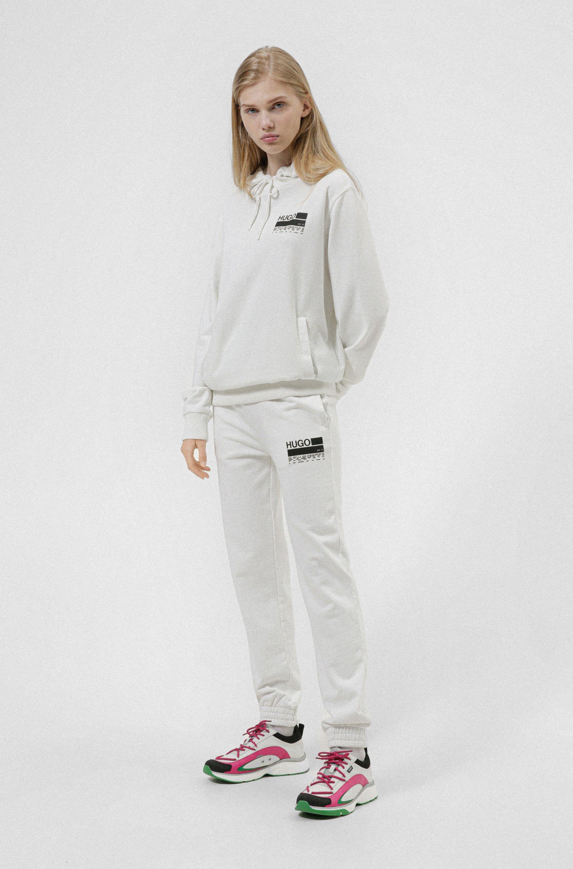 Manifesto-print hooded sweatshirt in Recot²® cotton