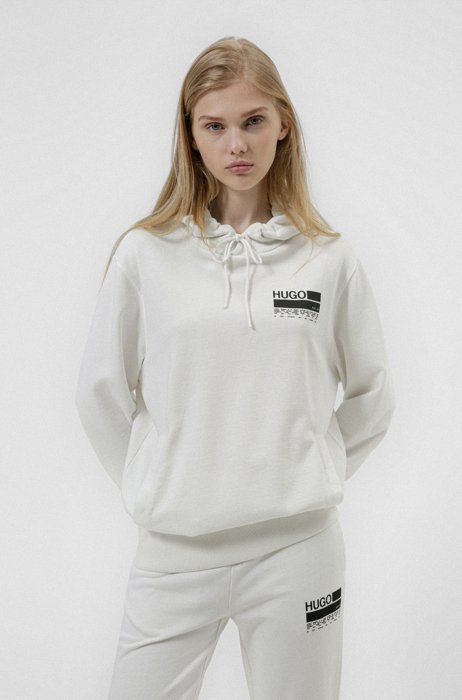 Manifesto-print hooded sweatshirt in Recot²® cotton, White
