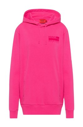 Manifesto-print hooded sweatshirt in Recot²® cotton, Pink