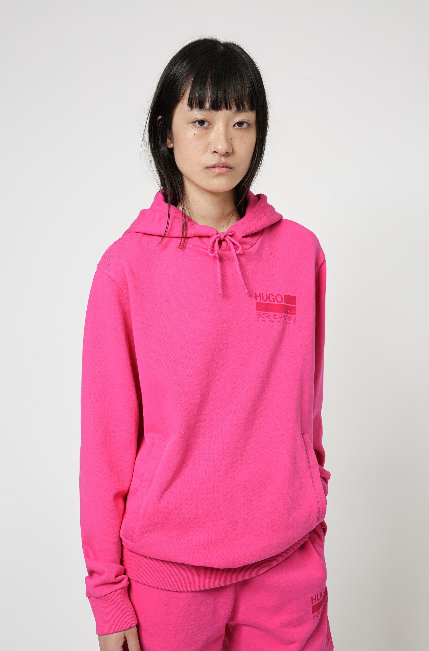 Manifesto-print hooded sweatshirt in Recot²® cotton, Pink