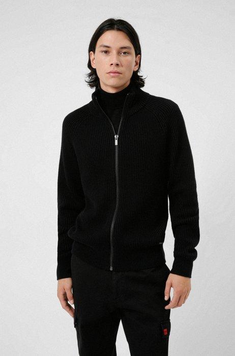Regular-Fit Jacke aus Baumwolle und Wolle mit Reißverschluss, Schwarz