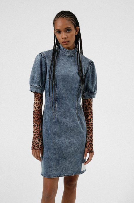 Stretch-denim dress with puffed sleeves, Blue