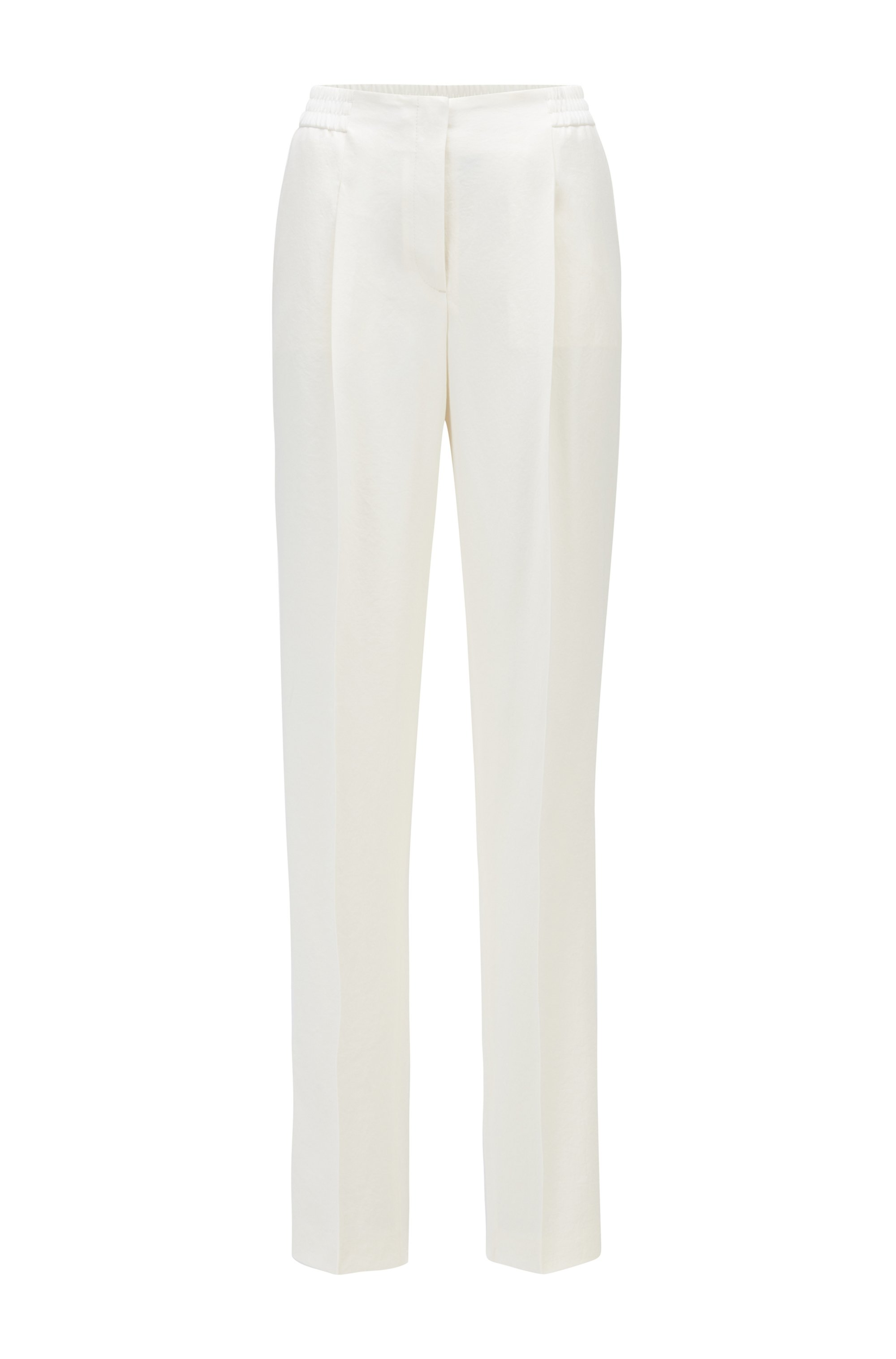 Regular-fit trousers with a wide leg, White