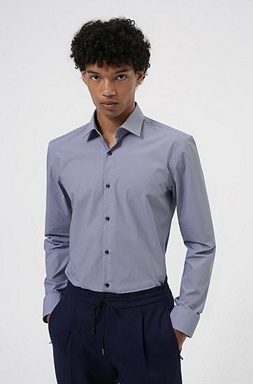 微型印花棉质帆布修身衬衫,  414_Navy