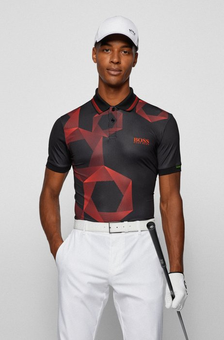 Hexagon-print regular-fit polo shirt with logo, Black
