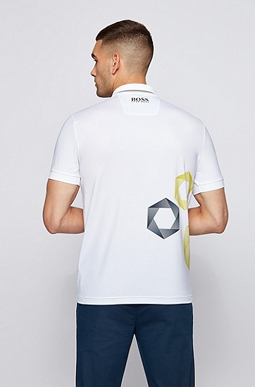 徽标装饰六边形印花常规版型 Polo 衫,  100_White