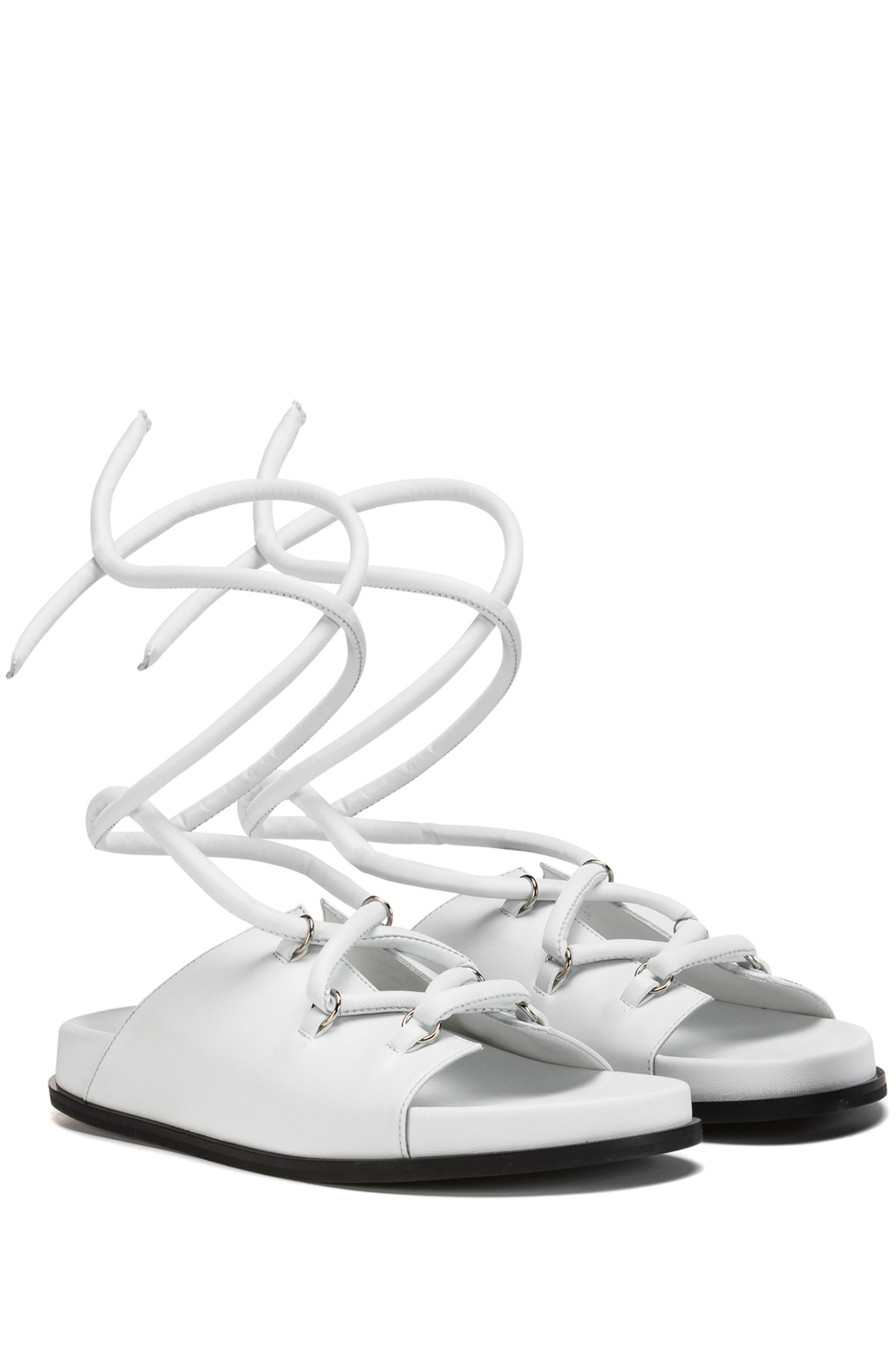 Nappa-leather sandals with ankle ties