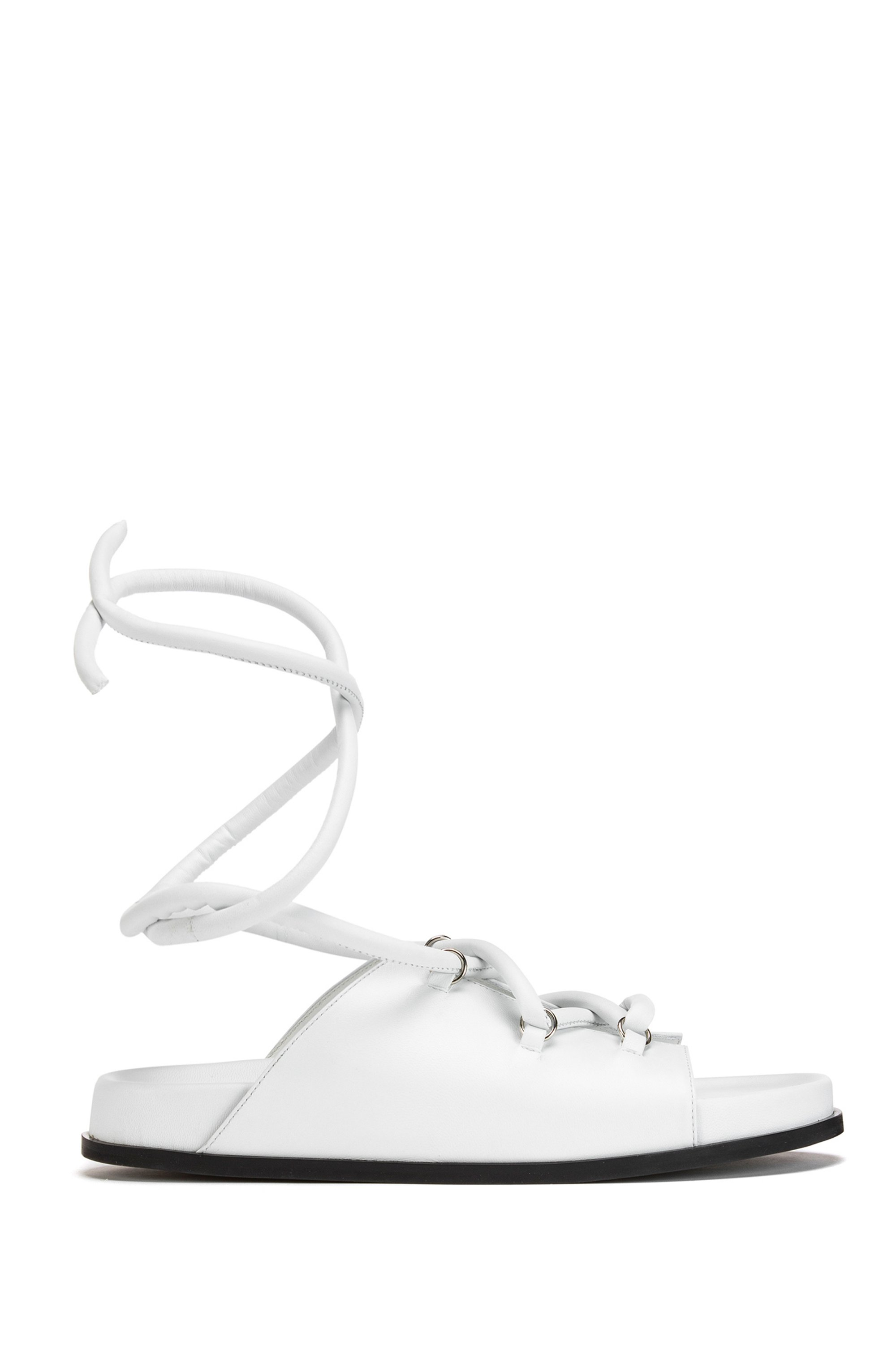 Nappa-leather sandals with ankle ties, White