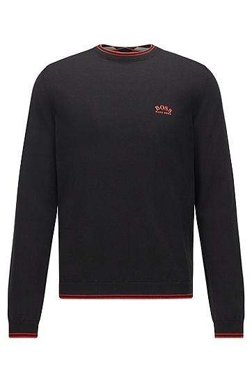 弧形徽标装饰棉质圆领毛衣,  001_Black