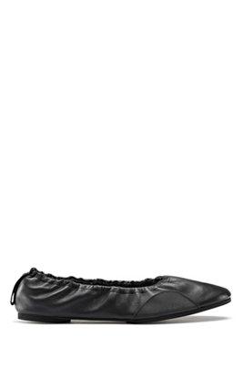 Ballerinas aus Nappaleder mit flexibler Sohle, Schwarz