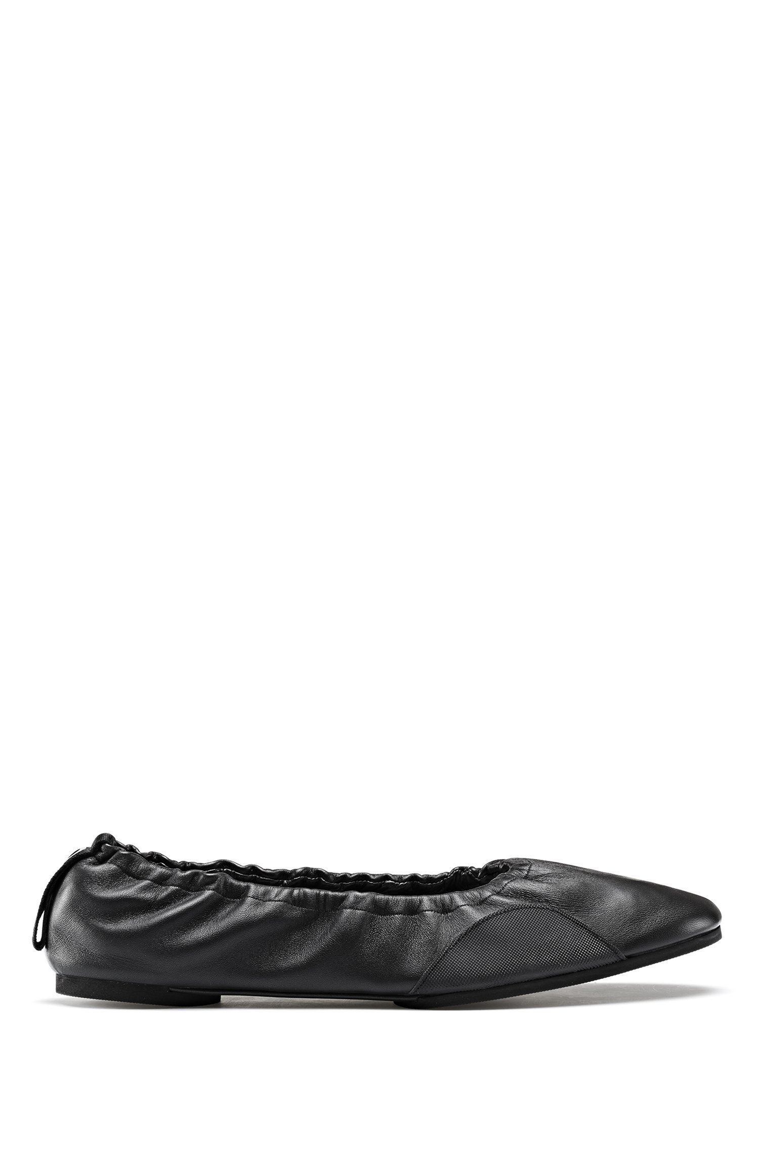 Ballerina pumps in nappa leather with flexible sole, Black