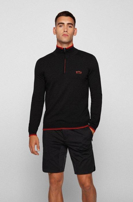 Pull en coton biologique avec encolure zippée et logo incurvé, Noir