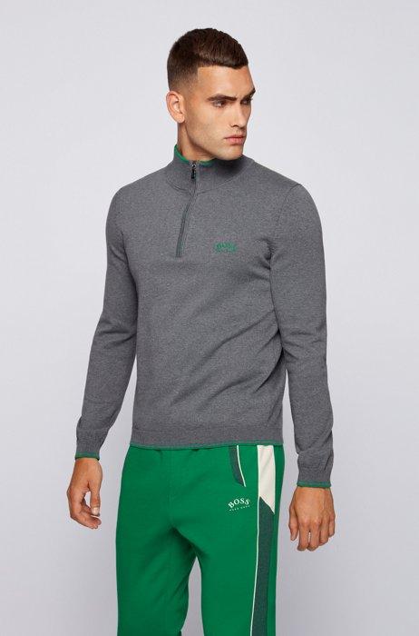 Pull en coton biologique avec encolure zippée et logo incurvé, Gris