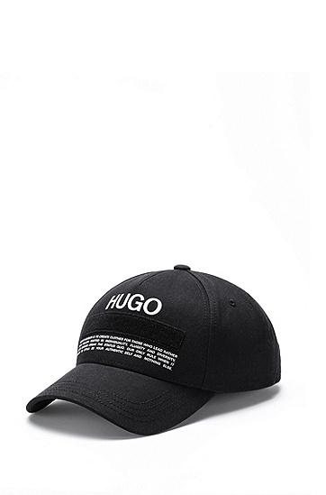 品牌宣言徽标装饰斜纹棉布鸭舌帽,  001_Black