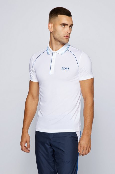 Slim-fit polo shirt with logo and piping, White