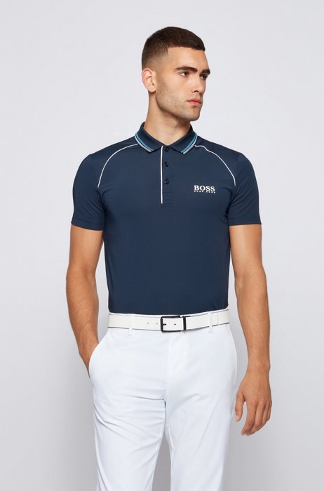Slim-fit polo shirt with logo and piping, Dark Blue