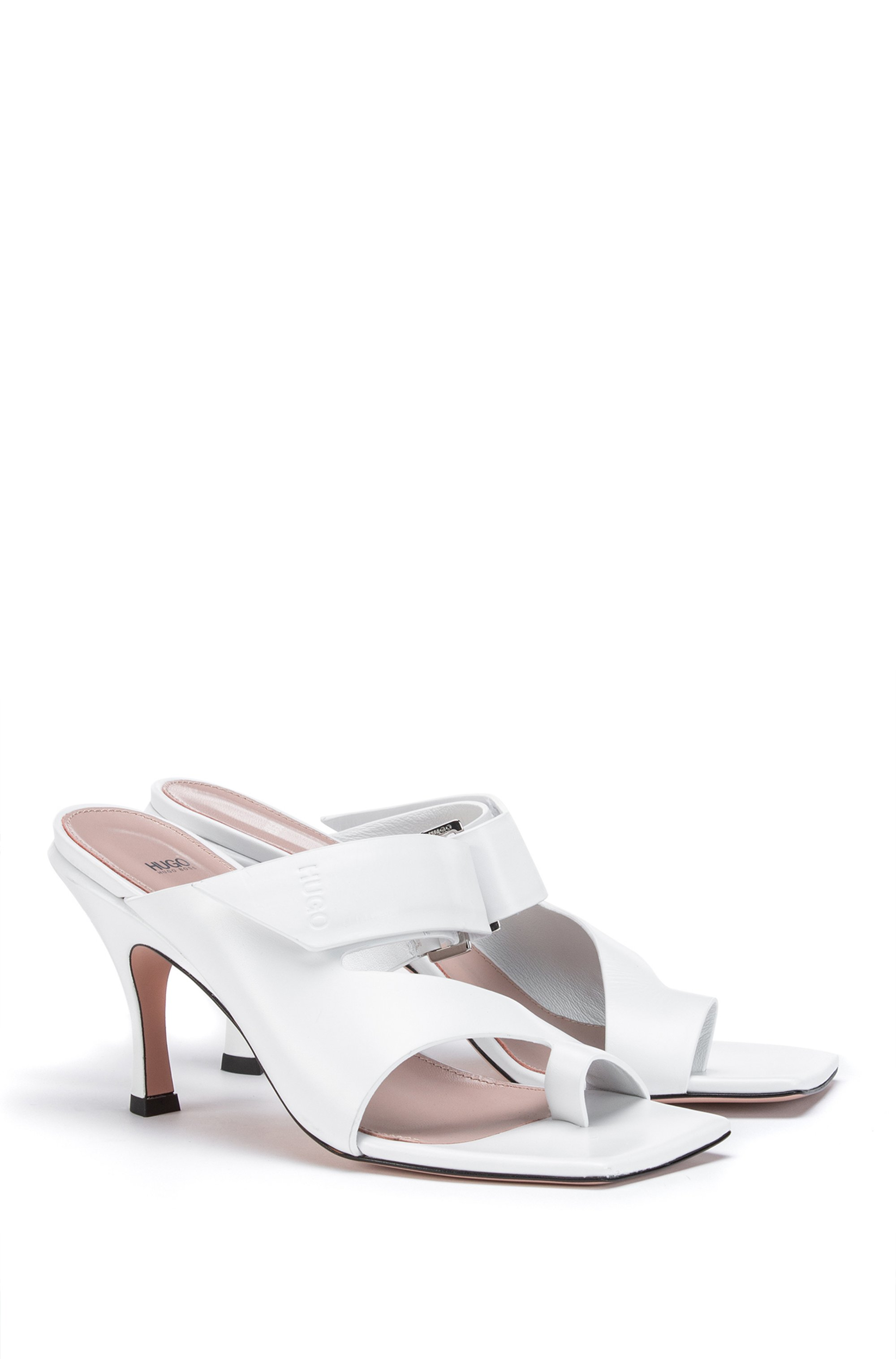 Square-toe mules in leather with strap detail