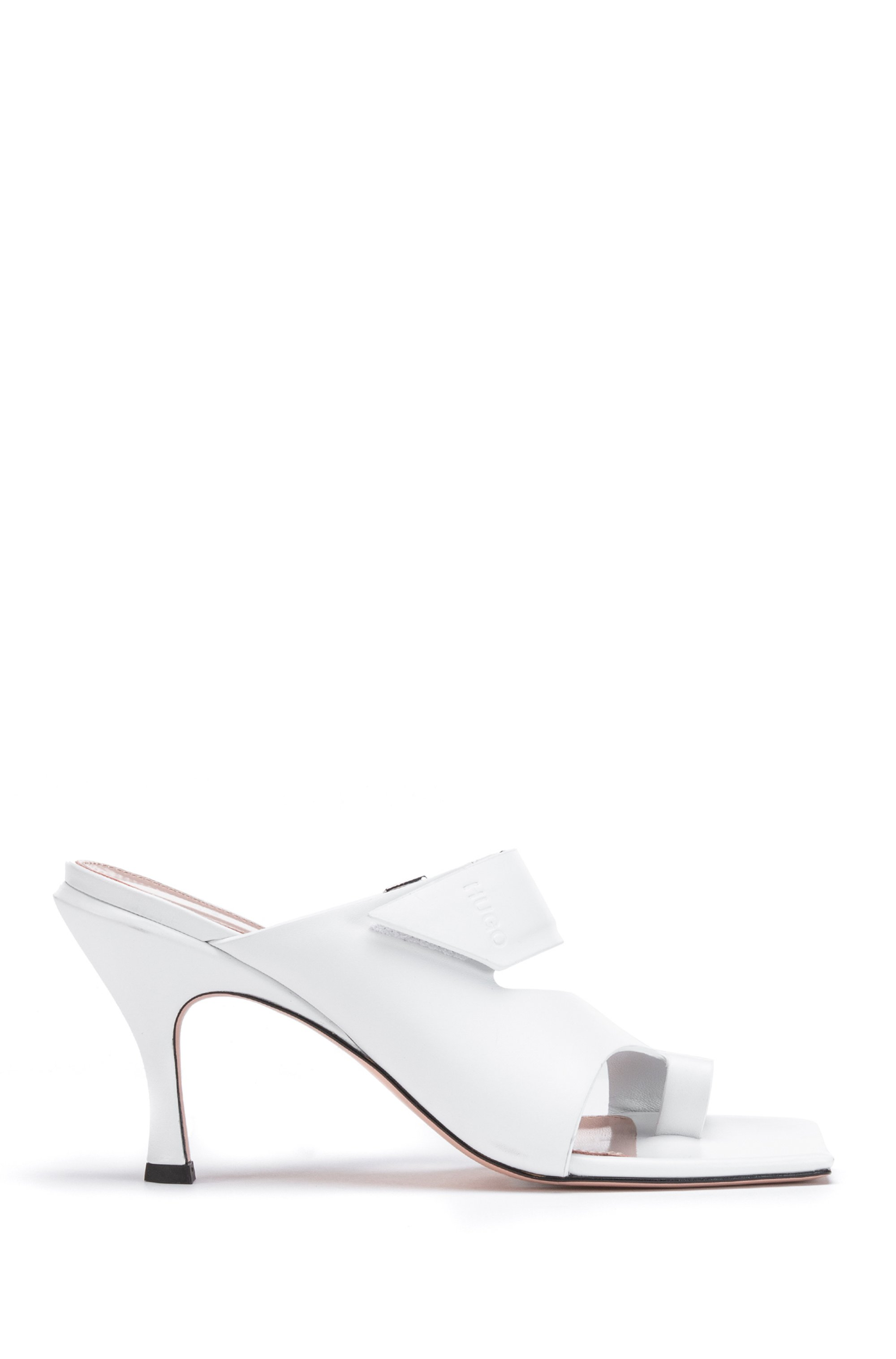 Square-toe mules in leather with strap detail, White