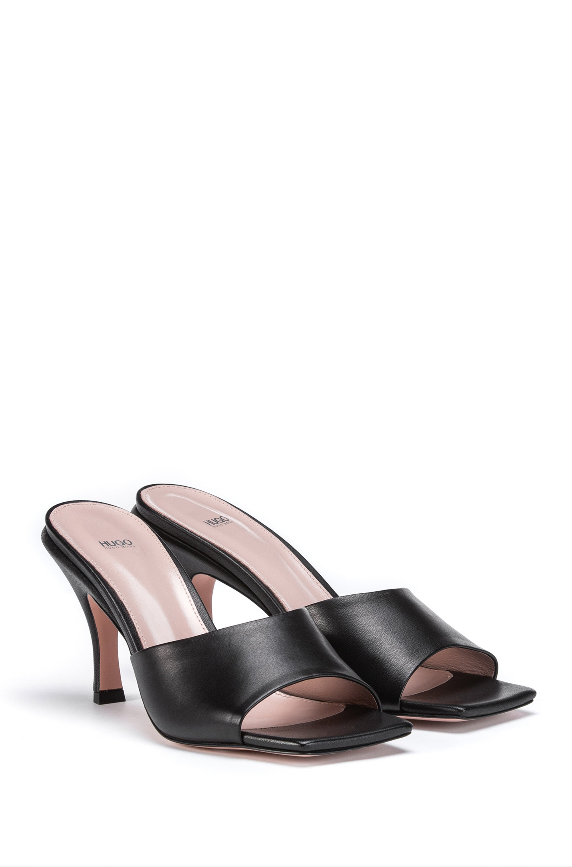 Italian-made mules in nappa leather with squared toe
