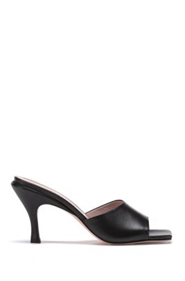 Italian-made mules in nappa leather with squared toe, Noir
