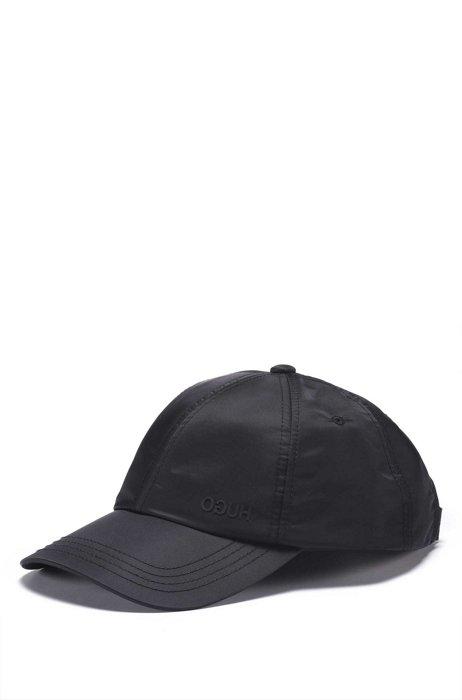 Cap aus wasserabweisendem Nylon mit Reversed-Logo, Schwarz