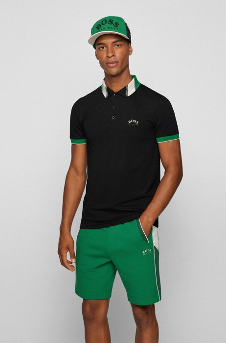Slim-fit polo shirt in stretch piqué with logos, Black