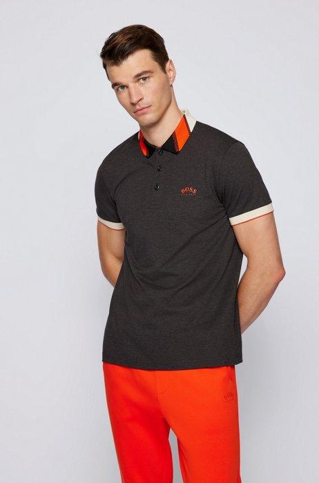 Slim-fit polo shirt in stretch piqué with logos, Dark Grey