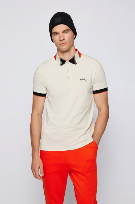 Slim-fit polo shirt in stretch piqué with logos, White