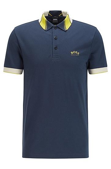 徽标装饰弹力珠地布修身 Polo 衫,  410_Navy