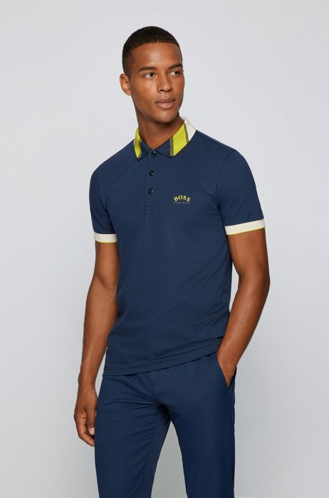Slim-fit polo shirt in stretch piqué with logos, Dark Blue
