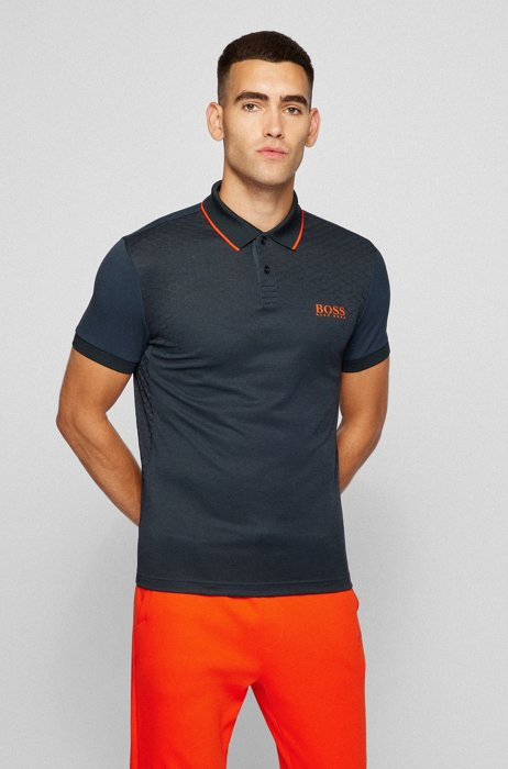Slim-fit polo shirt with hexagon print and S.Café®, Black