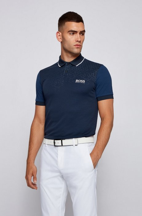 Slim-fit polo shirt with hexagon print and S.Café®, Dark Blue