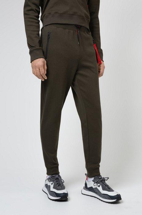Jogginghose aus Interlock-Baumwolle mit spiegelverkehrtem Logo-Aufnäher, Khaki