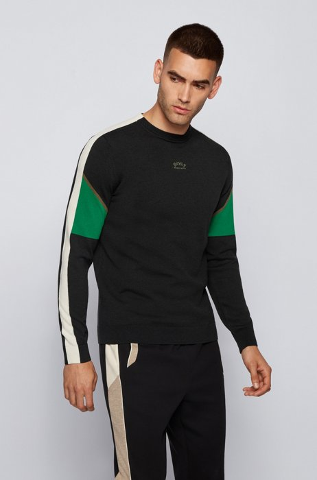 Color-block sweater with curved logo, Black